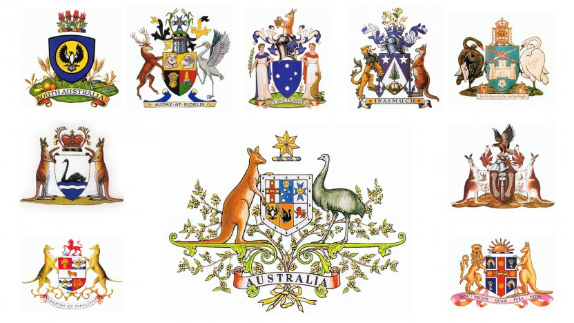 The Australian coat of arms surrounded by 9 state and territory coat of arms