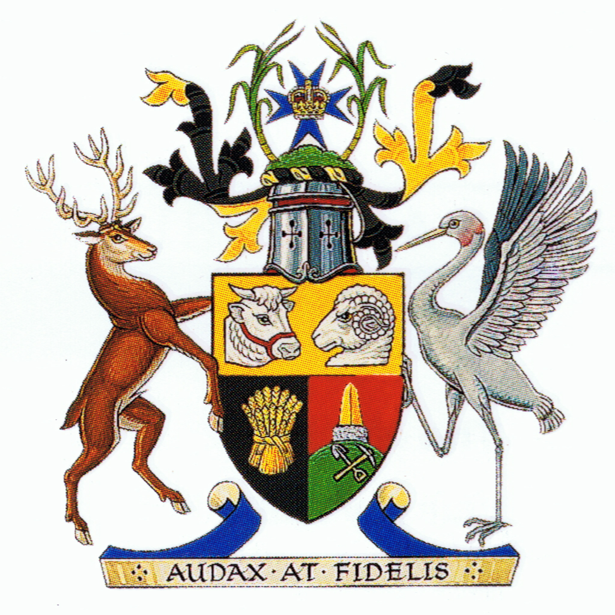 The coats of arms of australian states and territories scoutcraft above is a shield in quadrants has a sheaf of wheat the heads of a bull and biocorpaavc Choice Image